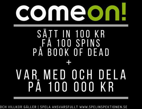 Välkomstbonus hos ComeOn – Sätt in 100 kr, få 100 spins och var med och dela på 100 000 kr